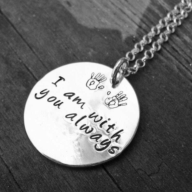 Custom Sterling 2-sided Thick Disc Necklace  Your Choice of image 0