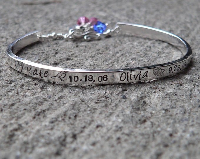 Custom Stamped Sterling Silver Phrase Bracelet Clasp Cuff - Adjustable - Your Own Message and Font - Hand Stamped Inside and/or Outside