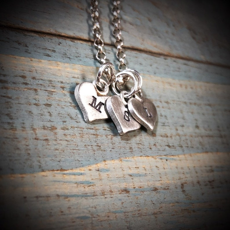 Sterling Silver thick little Hearts Charm Necklace with image 0