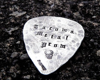 LIMITED TIME SALE Hand-finished Solid Sterling Silver Guitar Pick - playable - Choice of Fonts, Finishes - Your Own Message. Can Stamp Both