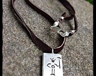 Chop Wood, Carry Water... A Thick, Rustic Sterling Silver and Deerskin Leather necklace