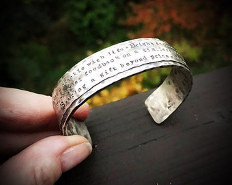 Rustic, Wide & Heavy Sterling Silver Classic Cuff - Personalized with Your Phrase - Sterling silver with your choice of metalsmith accent