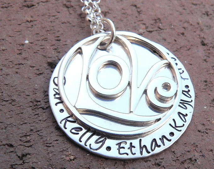 Love All Around ... Solid Sterling Silver Necklace with your Choice of Names, Words, or Phrase Hand Stamped ... Love Pendant Family Pendant