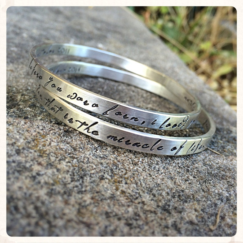 Set of TWO Thick Sterling Silver Bangles  Personalized Inside image 0