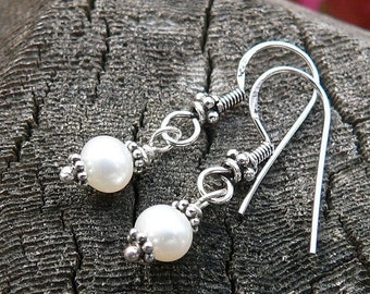 LIMITED TIME SALE Simply Pearl and Sterling Earrings - Solid Sterling Silver and Freshwater Pearls - Bali Style Earwire - Classic and Beauti