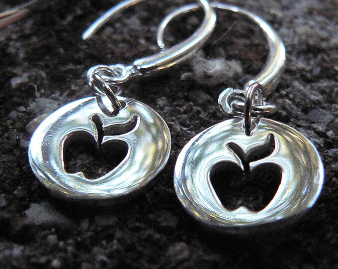 Cute Apple Cutout Earrings - Solid Sterling Silver - Perfect and Classy Teacher Gift - Choice of Earwire or Leverback