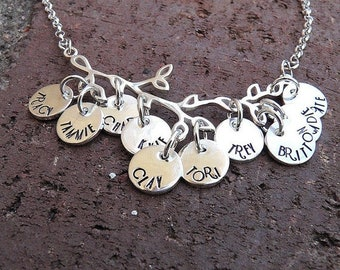 LIMITED TIME SALE Branches of My Family... Solid Sterling Silver Mother or Grandmother Necklace... Choose Font, Up to 12 Names.. Hand Stampe