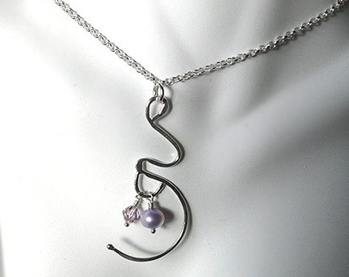 Expectation. A Pregnancy or Birth Necklace.  Solid Sterling Silver with Genuine Gemstone Birthstone, Swarovski Crystal, or Freshwater Pearl.