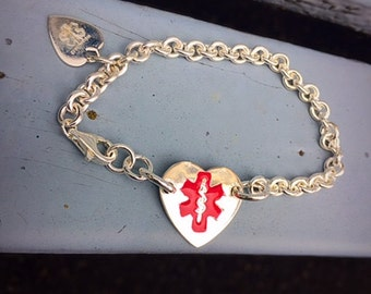 Original Sterling Silver Medic Alert Bracelet - Heart, Thick - Choice of Fonts, Text, and Clasp Arrangment - Medical Condition Alert