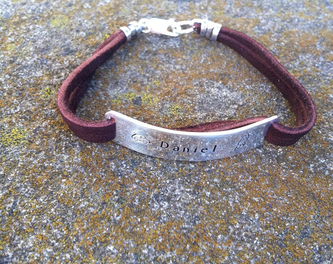 Boys Men or Unisex Sterling and Deerskin Classic Bracelet