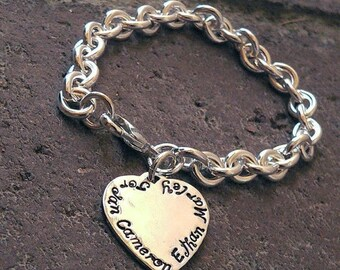 LIMITED TIME SALE Super Thick Heavy Sterling Charm Bracelet - Hand Stamped Charms - 1-4 Charms - Circle, Heart, or Oval Charms - Great for M