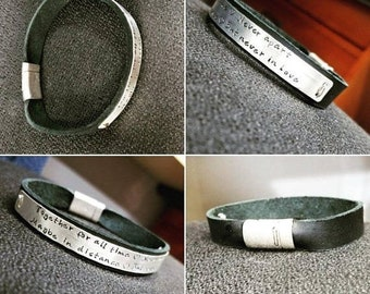 LIMITED TIME SALE Men's Smooth Leather and Sterling Silver Cuff Bracelet.  Magnetic Closure.  Personalize Customize - your own message phras