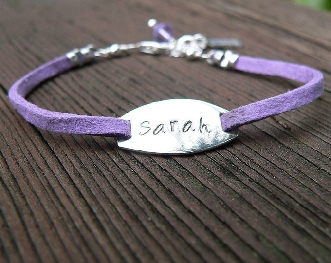Childrens Sterling Silver & Suede Leather Oval Plaque Custom Bracelet - Boy or Girl - Perfect Gift, Special Occasion, Graduation, Baptism