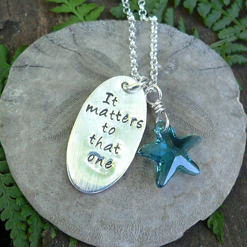 The Starfish Story Necklace  Solid Sterling Silver and image 0