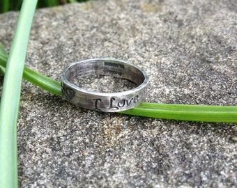 Custom Sterling Silver Hand Stamped Ring - Choice of Fonts - Stamp Inside or Outside -