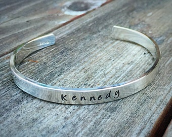 Heirloom Quality Sterling Silver Classic Cuff - Personalized, your Own Message or Words, Dates, Symbols - Beautiful Hand Stamped Bracelet