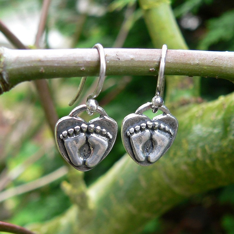 For Love of a Newborn Solid Sterling Silver Pregnancy Earrings image 0