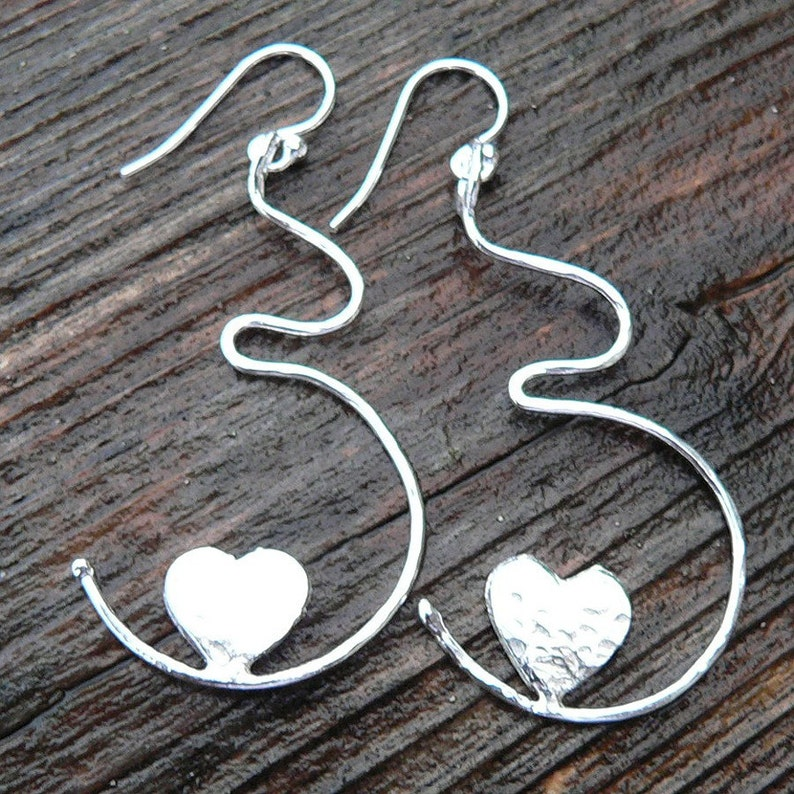 Growing Love Solid Sterling Silver Pregnancy Earrings  Birth image 0