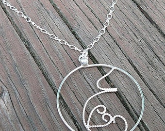 LIMITED TIME SALE Fluttering Love...A pregnancy necklace. Hand Forged Sterling Silver, Each One Unique, Choice of Finish and Length. Midwife