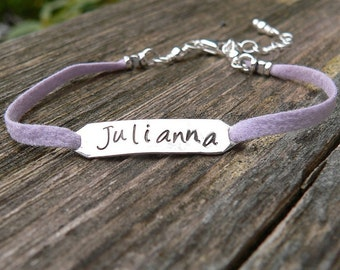 Childrens Sterling and Leather Custom Bracelet - Lighter Style