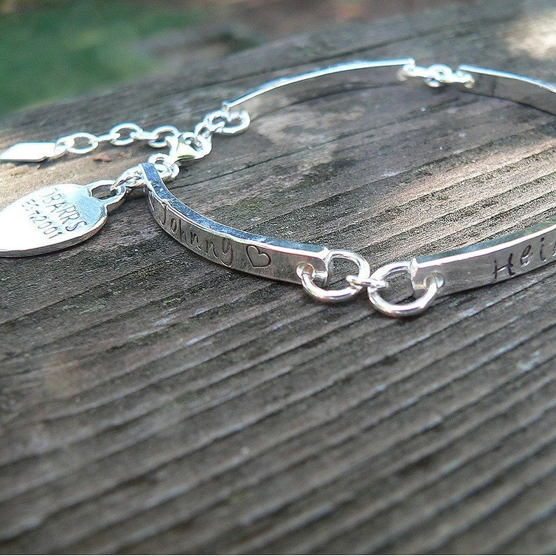 Stamped Sterling Silver Hand Hewn Link Bracelet with Heart Charm Font Customize Words Thick Message Bracelet Forever quality
