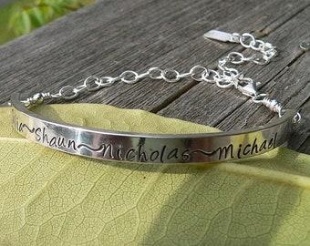LIMITED TIME SALE Custom Sterling Demi Bracelet - 12 font choices
