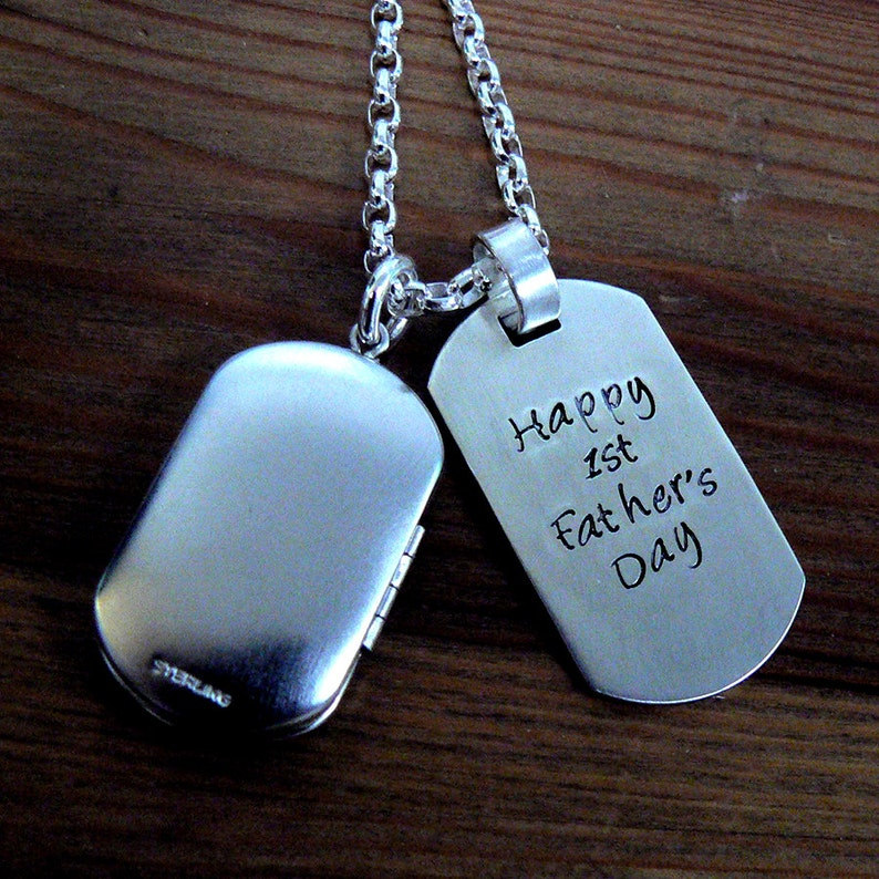 Custom Thick Sterling Silver Men's Locket and Dog Tag image 0