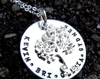 LIMITED TIME SALE I Am Complete. Customized or Personalized Unique Solid Sterling Silver Family Tree Necklace. Tree of Life. Names.