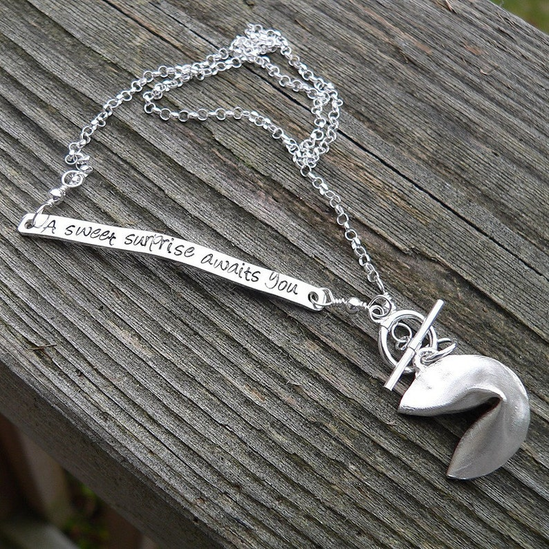 Custom hand Stamped Solid Sterling Silver Fortune Cookie Matte/Brushed