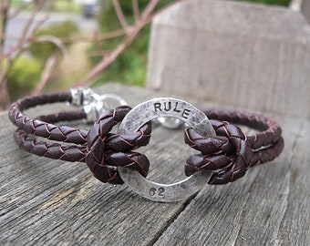 LIMITED TIME SALE Rustic Men's or Unisex Sterling Silver and Latigo Leather Bracelet - Hand Stamped with Choice of Font and Finish - High Qu