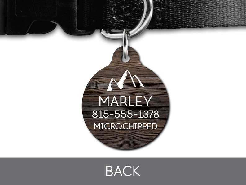 Rustic Wood Adventure Dog Mountain Pet Tag Dog Tag Cat Tag Custom ID Tag Pet Tag Dog ID Tag Dog Custom Pet Tag Puppy Personalized Pet Tag