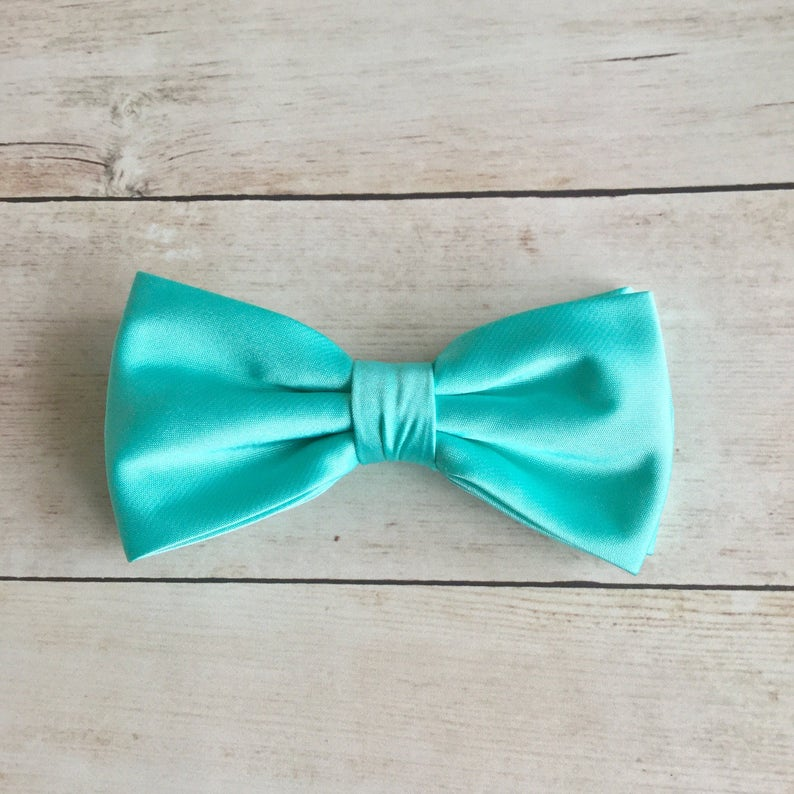 77399fef86ff Seafoam Green Bow Tie Mens Bow Tie Solid Satin Bow Tie Bow | Etsy
