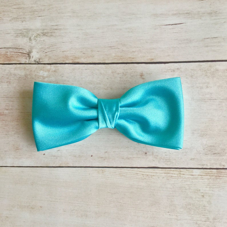 18a540553c9a Robin Egg Blue Bow Tie Plain Bow Tie Mens Bow Tie Solid | Etsy