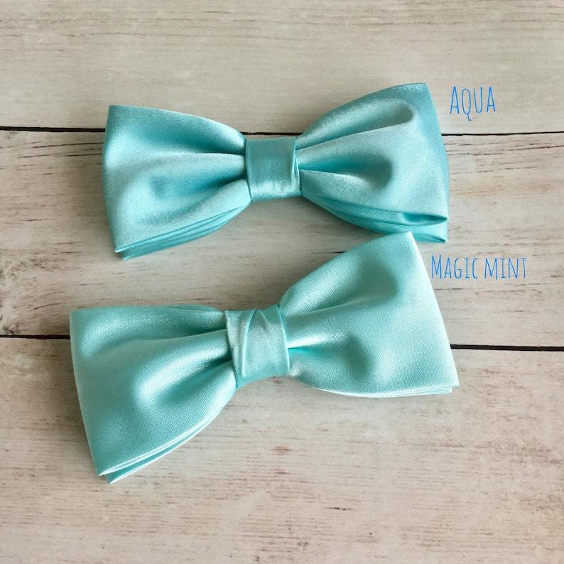 ee7abd514b13 Magic Mint Bow Tie Aqua Bowtie Solid Satin Bow Tie Mens Bow   Etsy
