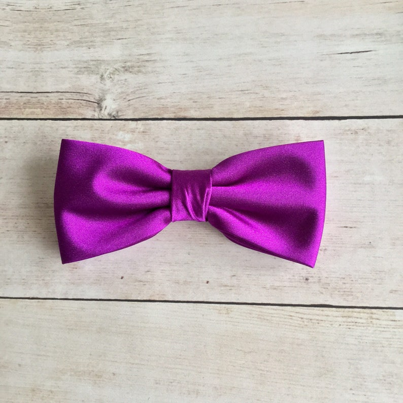264c81827d4f Purple Bow Tie Mens Bow Tie Solid Satin Bow Tie Bow Tie for | Etsy