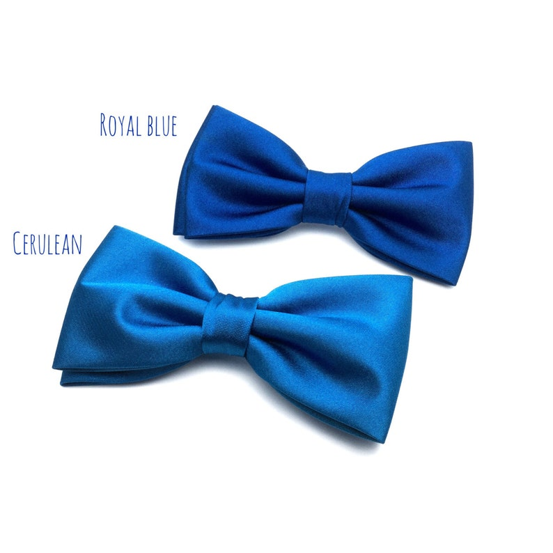 Mens Bow Tie Navy Blue Royal Blue Prussian Blue Cerulean Solid Etsy