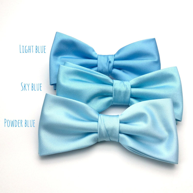 0151e141e768 Satin Mens Bow Tie Light Blue Powder Blue Sky Blue Baby Blue   Etsy