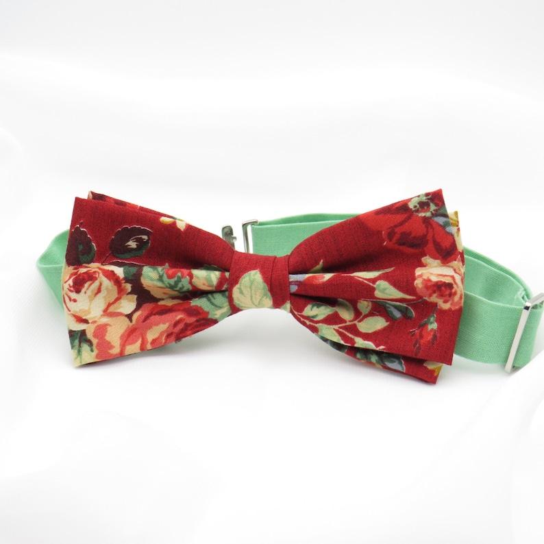 583495763332 Dark Red Floral Bow Tie Rose Bow tie Mens Cotton Bowtie Pre | Etsy