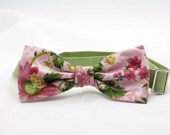 Mens Floral Bow tie, Pink Spring  Bowtie, Pre tied Bow Tie, Flowery Bow Tie, Summer Wedding Bow tie, Bow tie for Groomsmen, BowTie for Groom