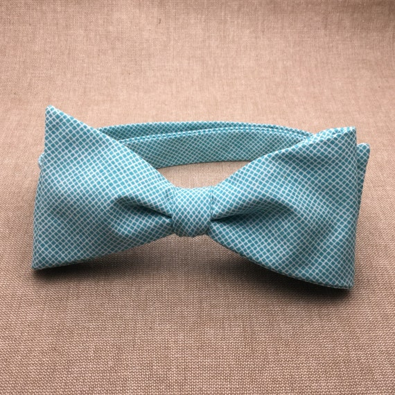 a3fcd8202918 Teal Gingham Bow tie Self tie Bow tie Matching Pocket | Etsy