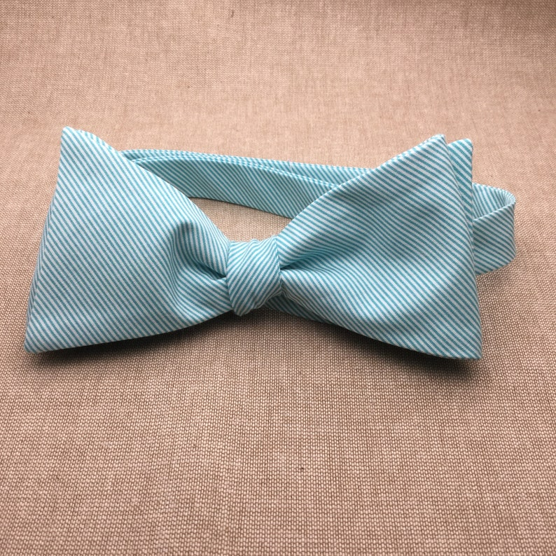 66739ea38e9e Teal Striped Bow tie Teal Green Self tie Bow tie Matching | Etsy