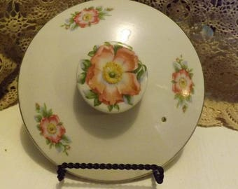 Vintage Casserole Lid With Pink Wild Rose Pattern