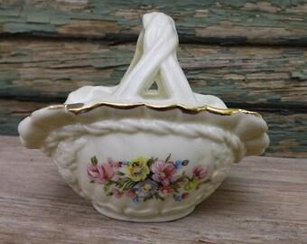 Vintage Porcelain Trinket Basket With Floral Spray Design