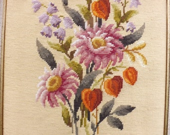 Cottage Garden Floral Spray Framed Needlepoint Wall Hanging
