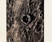 1890 Antique MOON print, Triesnecker a prominent lunar impact crater