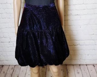 Bubble skirt suede blue dark blue Velvet Woman Balloon