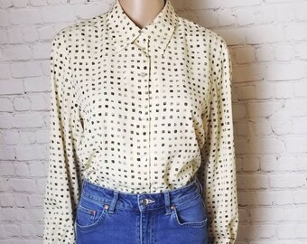 oversize dark denim and brown suede western shirt  80s denim and suede western button up  xs s m l  vintage top