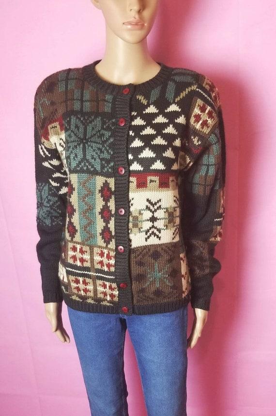 novelty design acrylic and wool chunky knit cardi… - image 1