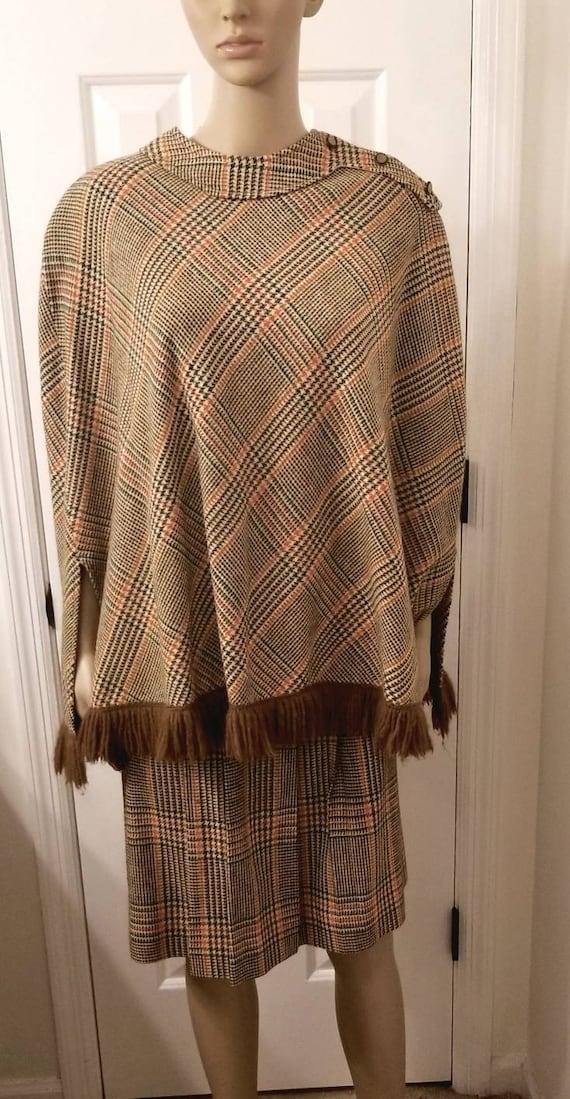 plaid wool poncho and skirt set / 60s plaid cape a