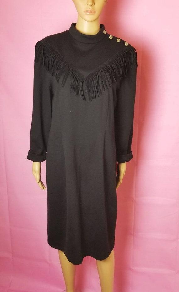 black western fringe sweater dress / 80s black wes